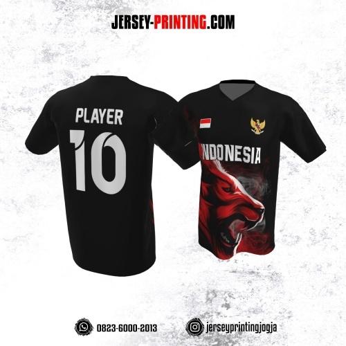 Jersey Atasan Badminton Volly Lari Futsal Hitam Motif Singa Merah