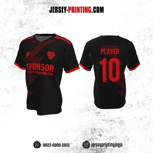 Jersey Atasan Badminton Volly Lari Futsal Hitam Motif Strip Merah