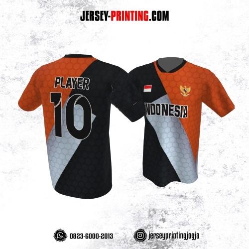 Jersey Atasan Badminton Volly Lari Futsal Hitam Orange Abu Motif Honeycomb