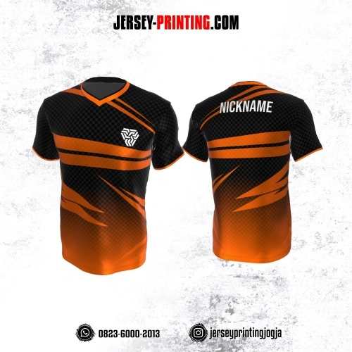Jersey Atasan Badminton Volly Lari Futsal Hitam Orange Motif Kotak-kotak
