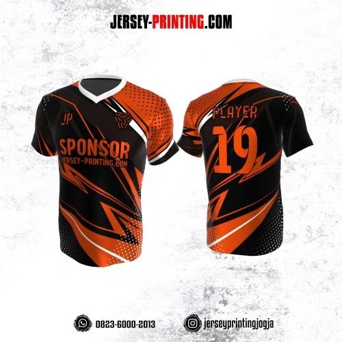 Jersey Atasan Badminton Volly Lari Futsal Hitam Orange Putih Motif Polkadot