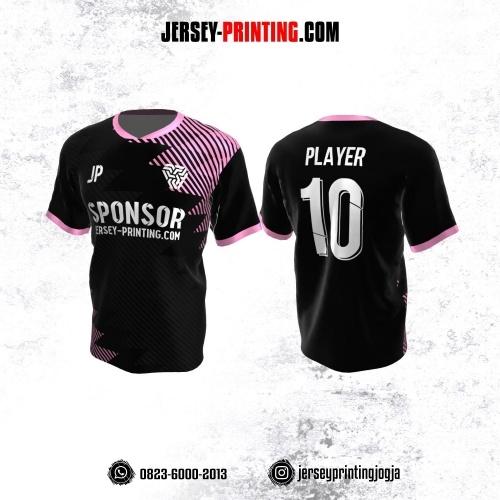 Jersey Atasan Badminton Volly Lari Futsal Hitam Pink Abu Motif Garis