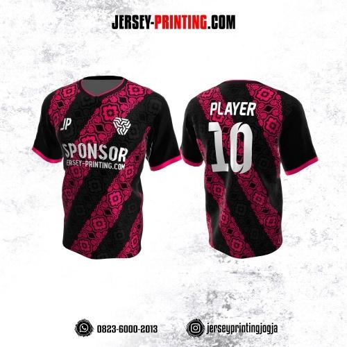 Jersey Atasan Badminton Volly Lari Futsal Hitam Pink Motif Batik