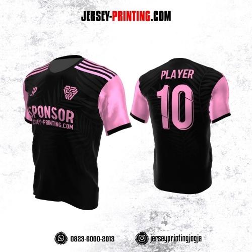 Jersey Atasan Badminton Volly Lari Futsal Hitam Pink Motif Daun Abu-abu