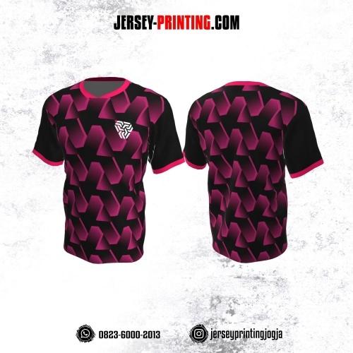Jersey Atasan Badminton Volly Lari Futsal Hitam Pink Motif Seamless