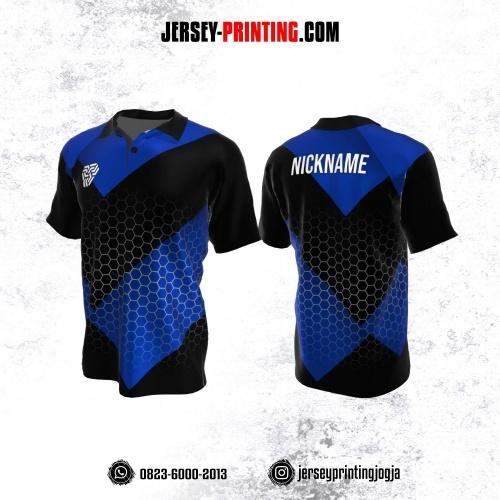 Jersey Atasan Badminton Volly Lari Futsal Kerah Polo Hitam Biru Putih Motif Honeycomb