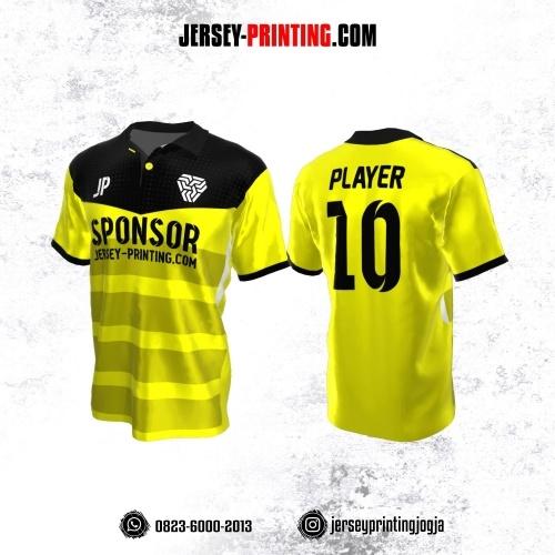 Jersey Atasan Badminton Volly Lari Futsal Kerah Polo Kuning Corak Hitam