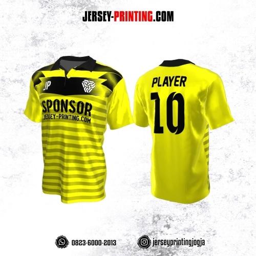 Jersey Atasan Badminton Volly Lari Futsal Kerah Polo Kuning Hitam Motif Stripe