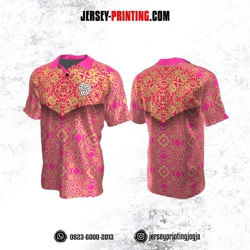 Jersey Atasan Badminton Volly Lari Futsal Kerah Polo Pink Krem Motif Batik