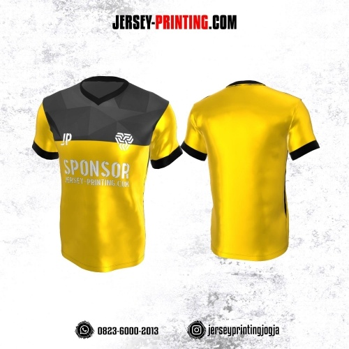 Jersey Atasan Badminton Volly Lari Futsal Kuning Corak Abu-abu Hitam