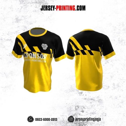 Jersey Atasan Badminton Volly Lari Futsal Kuning Corak Hitam