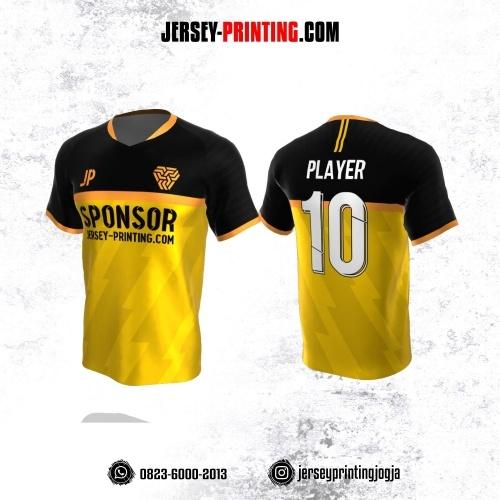Jersey Atasan Badminton Volly Lari Futsal Kuning Corak Hitam Emas