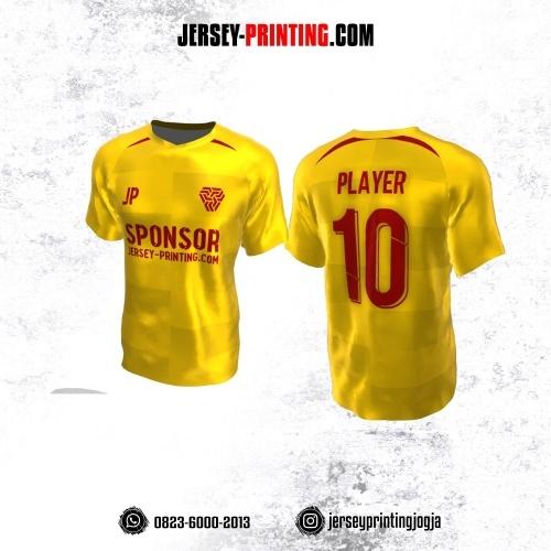 Jersey Atasan Badminton Volly Lari Futsal Kuning Corak Merah