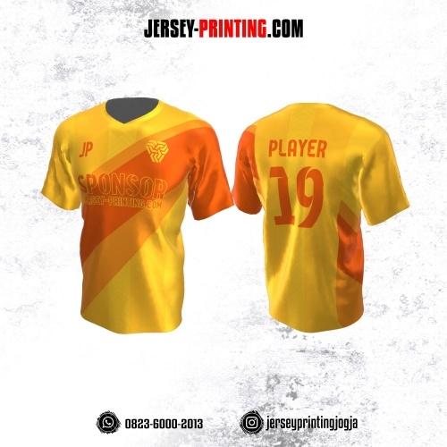 Jersey Atasan Badminton Volly Lari Futsal Kuning Corak Orange