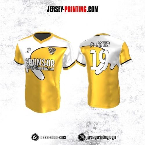 Jersey Atasan Badminton Volly Lari Futsal Kuning Corak Putih