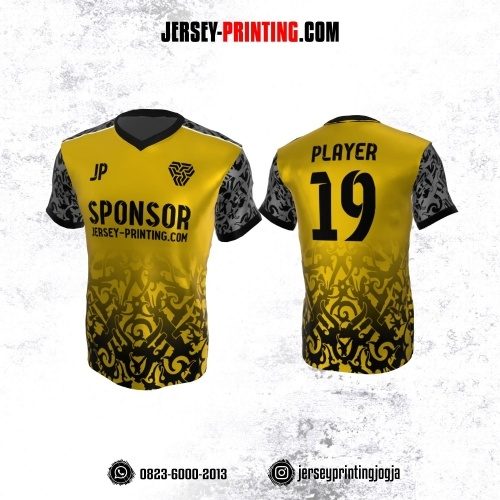 Jersey Atasan Badminton Volly Lari Futsal Kuning Hitam Abu-abu Motif Batik