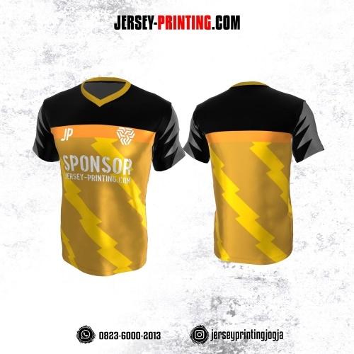 Jersey Atasan Badminton Volly Lari Futsal Kuning Hitam Abu-abu Motif Kilat