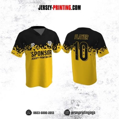 Jersey Atasan Badminton Volly Lari Futsal Kuning Hitam Motif Abstrak