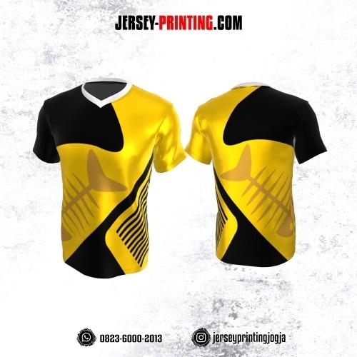 Jersey Atasan Badminton Volly Lari Futsal Kuning Hitam Motif Garis