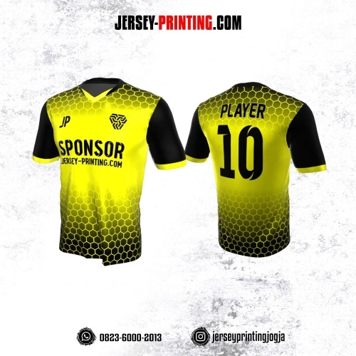 Jersey Atasan Badminton Volly Lari Futsal Kuning Hitam Motif Honeycomb