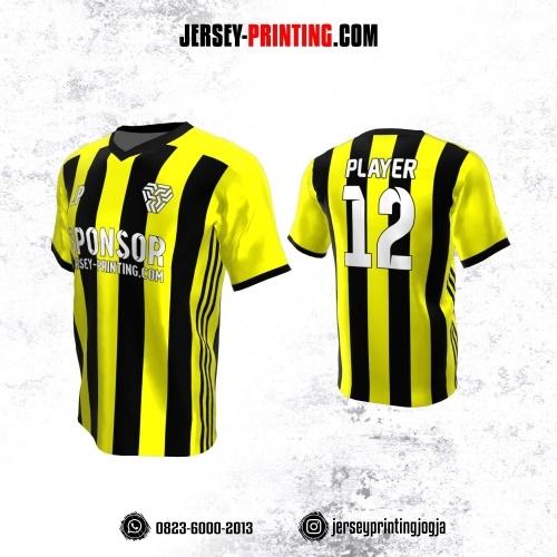 Jersey Atasan Badminton Volly Lari Futsal Kuning Hitam Motif Stripe
