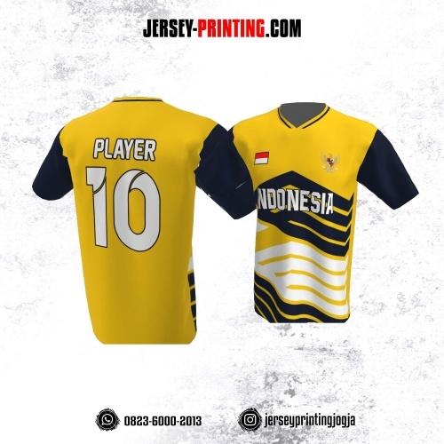 Jersey Atasan Badminton Volly Lari Futsal Kuning Hitam Putih Motif Garis