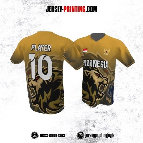 Jersey Atasan Badminton Volly Lari Futsal Kuning Kunyit Hitam Motif Singa