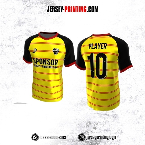 Jersey Atasan Badminton Volly Lari Futsal Kuning Merah Hitam Motif Stripe