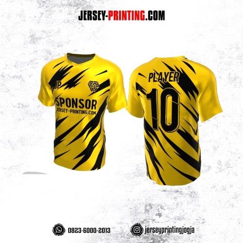 Jersey Atasan Badminton Volly Lari Futsal Kuning Motif Abstrak Hitam