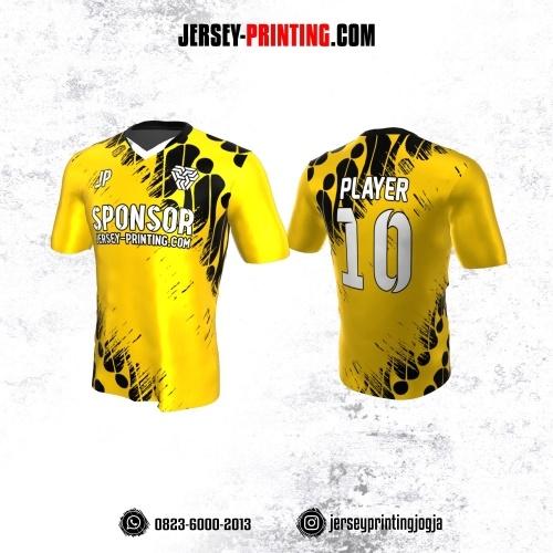 Jersey Atasan Badminton Volly Lari Futsal Kuning Motif Batik Parang Hitam