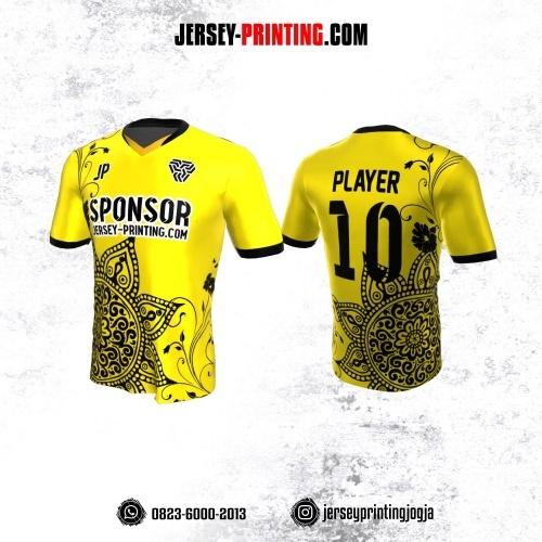 Jersey Atasan Badminton Volly Lari Futsal Kuning Motif Floral Hitam