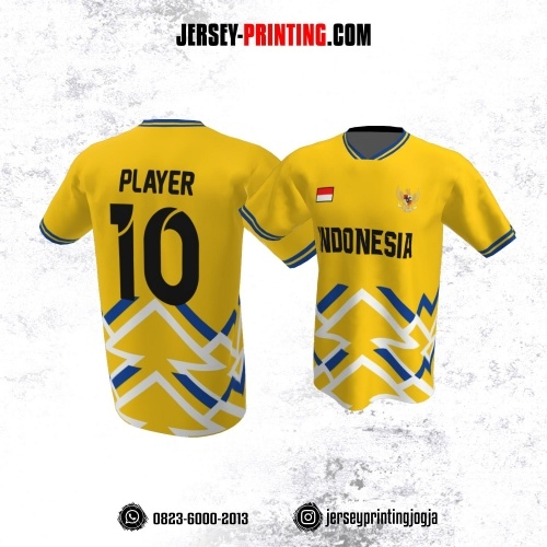 Jersey Atasan Badminton Volly Lari Futsal Kuning Motif Garis Biru Putih