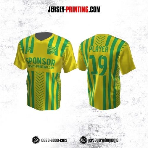 Jersey Atasan Badminton Volly Lari Futsal Kuning Motif Stripe Hijau