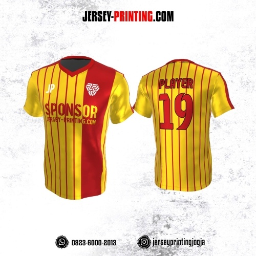 Jersey Atasan Badminton Volly Lari Futsal Kuning Motif Stripe Merah