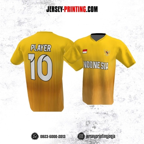 Jersey Atasan Badminton Volly Lari Futsal Kuning Motif Stripe Orange