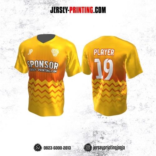 Jersey Atasan Badminton Volly Lari Futsal Kuning Motif Zigzag Orange