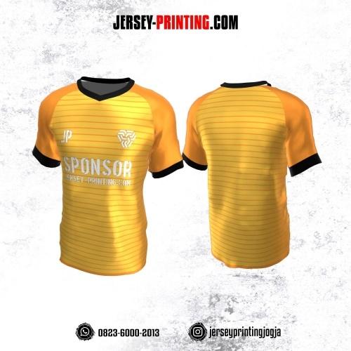 Jersey Atasan Badminton Volly Lari Futsal Kuning Orange Hitam Motif Stripe