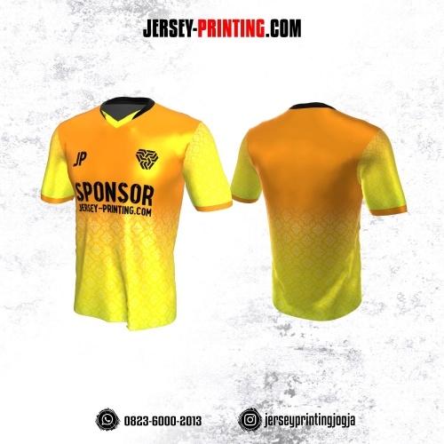 Jersey Atasan Badminton Volly Lari Futsal Kuning Orange Motif Batik