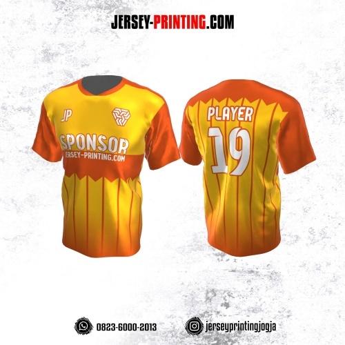 Jersey Atasan Badminton Volly Lari Futsal Kuning Orange Motif Garis