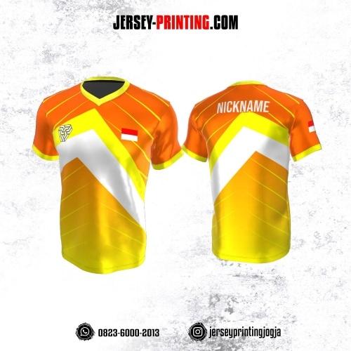 Jersey Atasan Badminton Volly Lari Futsal Kuning Orange Putih Motif Garis