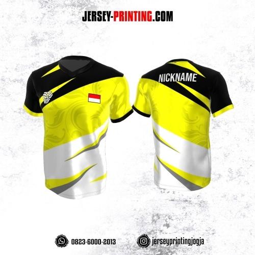 Jersey Atasan Badminton Volly Lari Futsal Kuning Putih Hitam Motif Floral