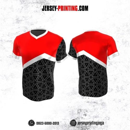 Jersey Atasan Badminton Volly Lari Futsal Merah Hitam Abu-abu Putih Motif Geometris