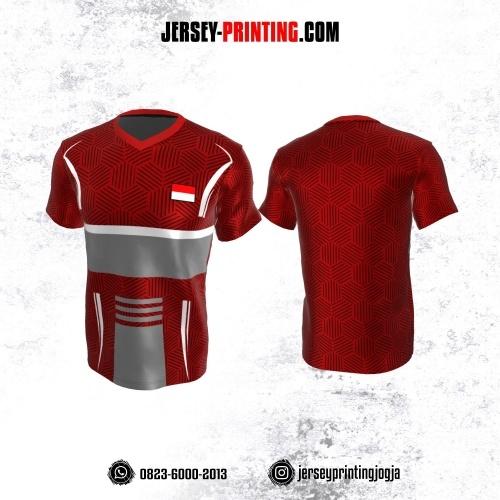 Jersey Atasan Badminton Volly Lari Futsal Merah Hitam Abu-abu Putih Motif Hexagon