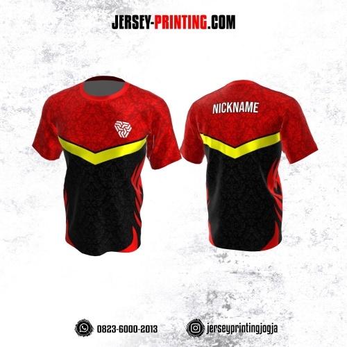 Jersey Atasan Badminton Volly Lari Futsal Merah Hitam Abu Kuning Motif Batik