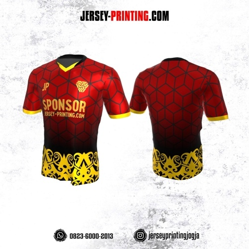 Jersey Atasan Badminton Volly Lari Futsal Merah Hitam Kuning Motif Geometris dan Batik