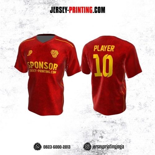 Jersey Atasan Badminton Volly Lari Futsal Merah Kuning Motif Batik