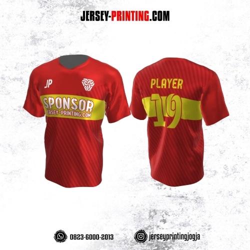 Jersey Atasan Badminton Volly Lari Futsal Merah Kuning Motif Garis