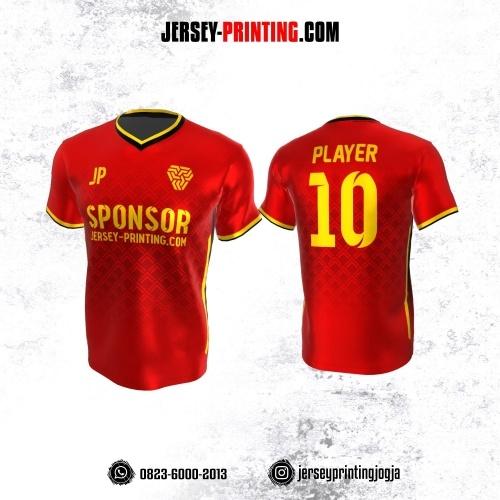 Jersey Atasan Badminton Volly Lari Futsal Merah Kuning Motif Seamless