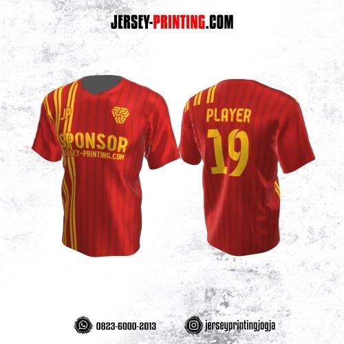 Jersey Atasan Badminton Volly Lari Futsal Merah Kuning Motif Stripe