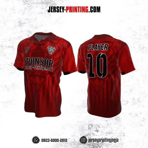 Jersey Atasan Badminton Volly Lari Futsal Merah Maroon Motif Tiger